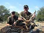 father son axis buck hunt